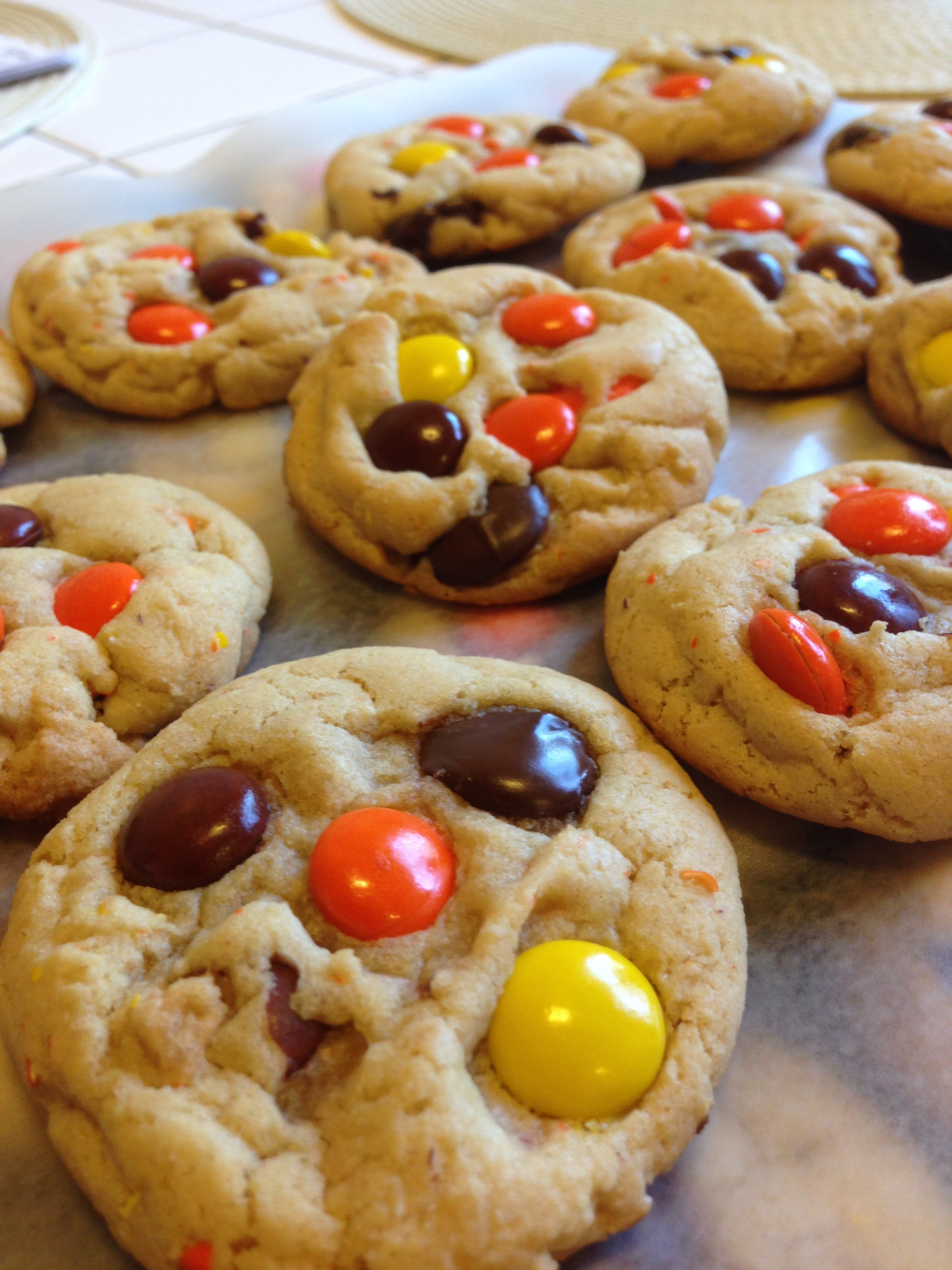 chocolate chip reese's pieces cookies | linda in the kitchen